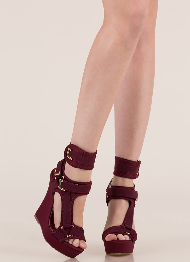 Band Mate Caged Platform Wedges WINE