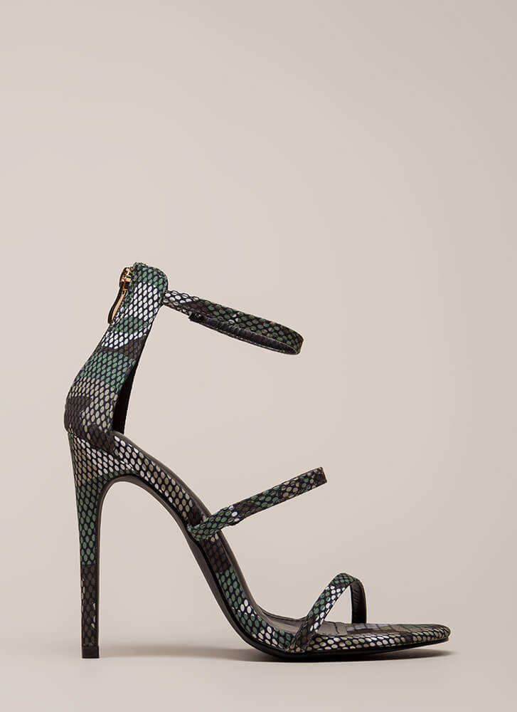 Golden Age Strappy Camo Print Heels CAMOUFLAGE