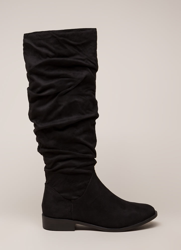 You're Slouching Faux Suede Boots BLACK