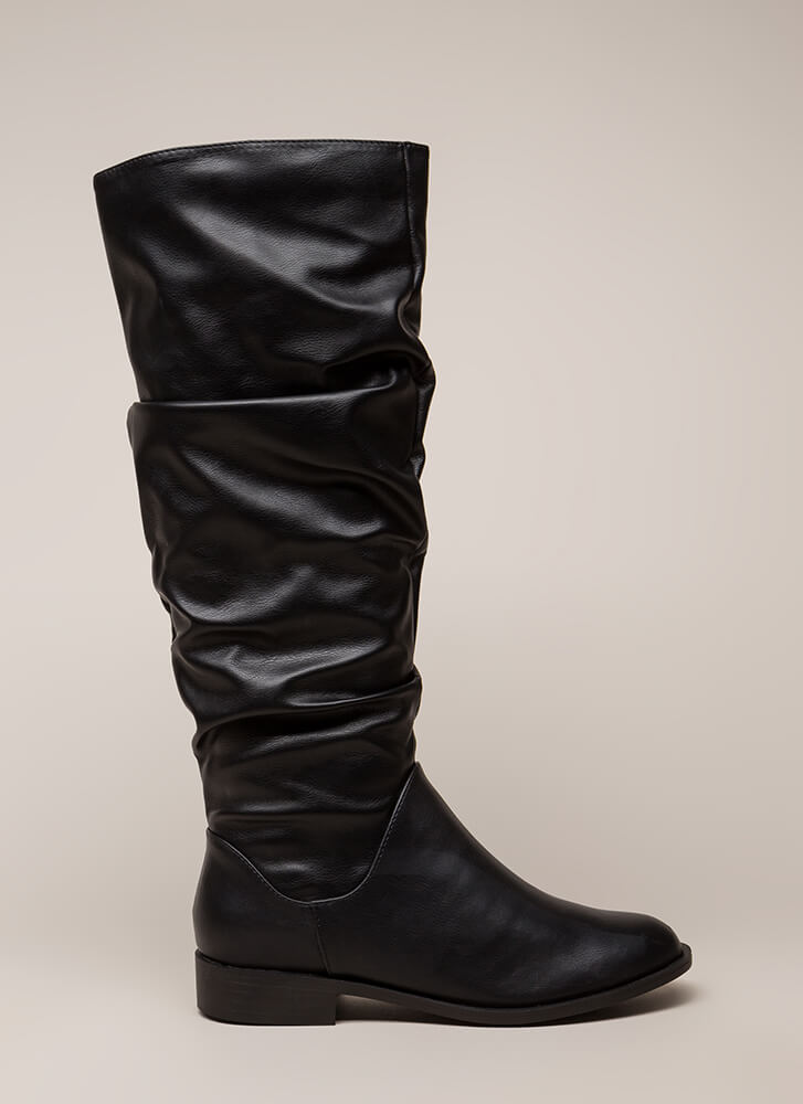 You're Slouching Faux Leather Boots BLACK