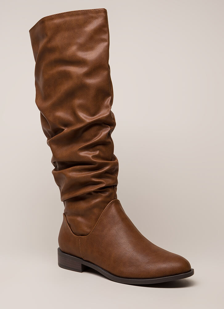 You're Slouching Faux Leather Boots CHESTNUT