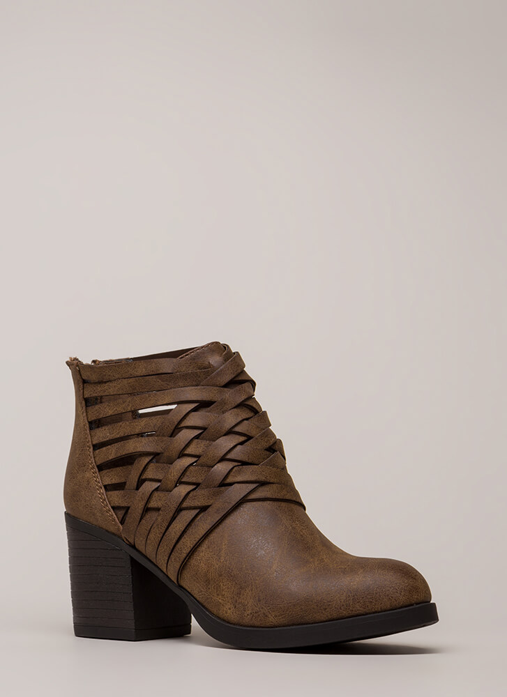 Interwoven Strappy Chunky Booties CAMEL