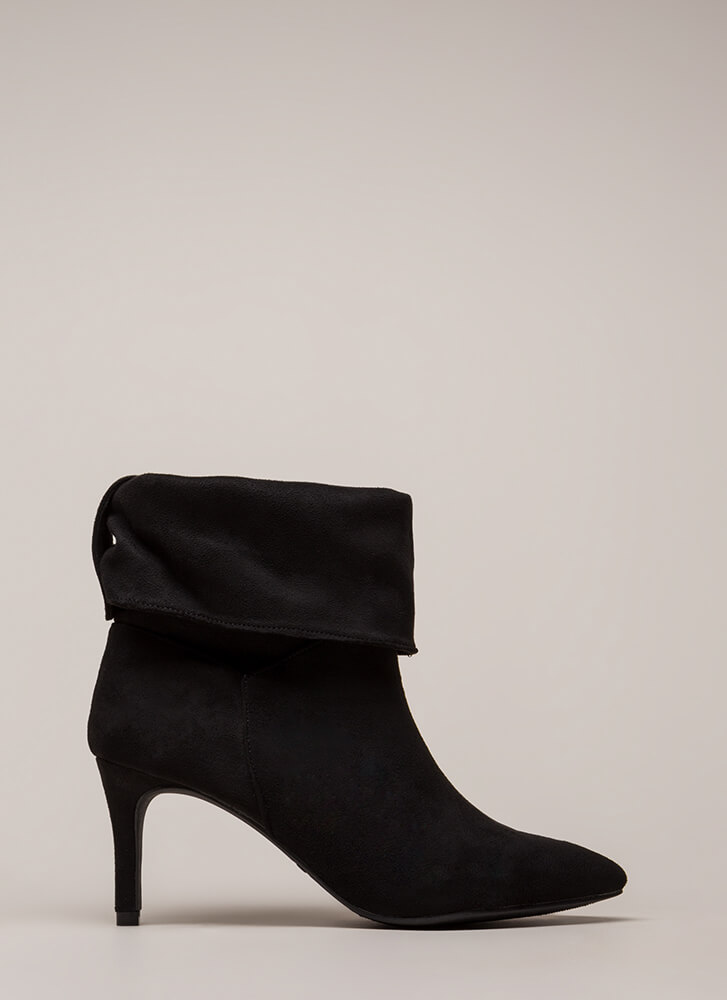 Cuff It Out Pointy Faux Suede Booties BLACK