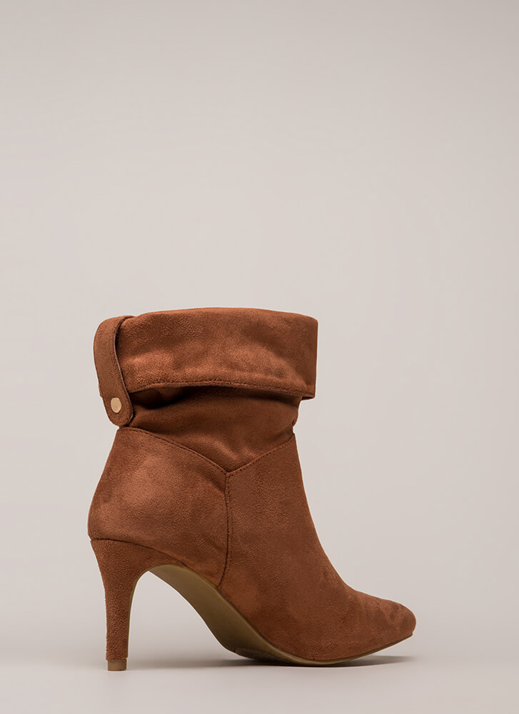 Cuff It Out Pointy Faux Suede Booties MOCHA