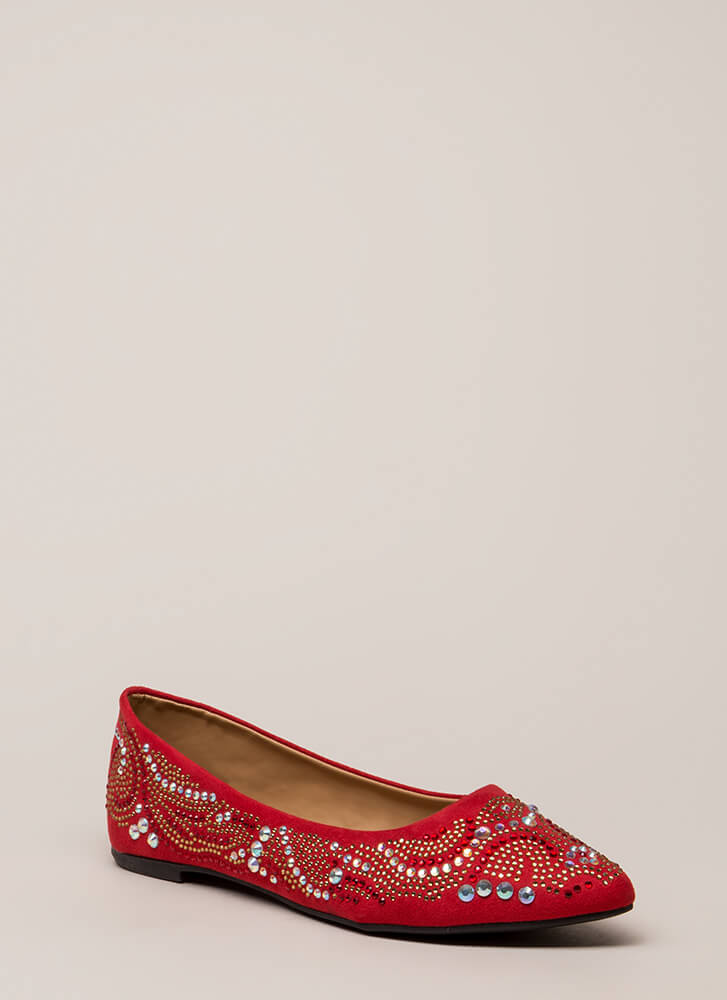 Embellish Your Story Jeweled Flats RED
