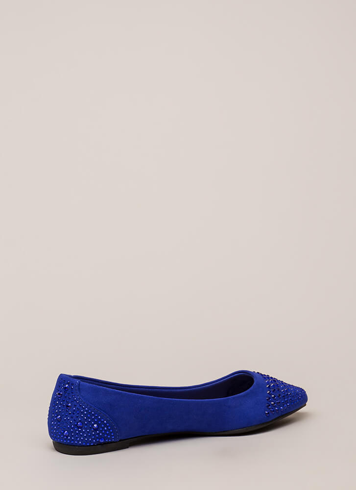 Subtle Sparkle Jeweled Rhinestone Flats ELECTRICBLUE