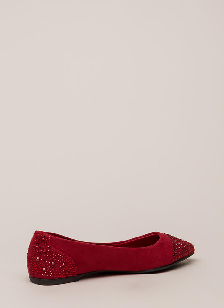 Subtle Sparkle Jeweled Rhinestone Flats RED