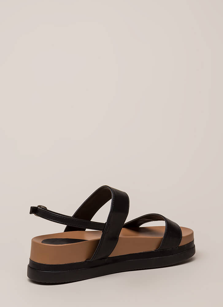 Play Day Strappy Flatform Sandals BLACK
