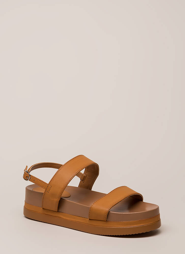 Play Day Strappy Flatform Sandals TAN