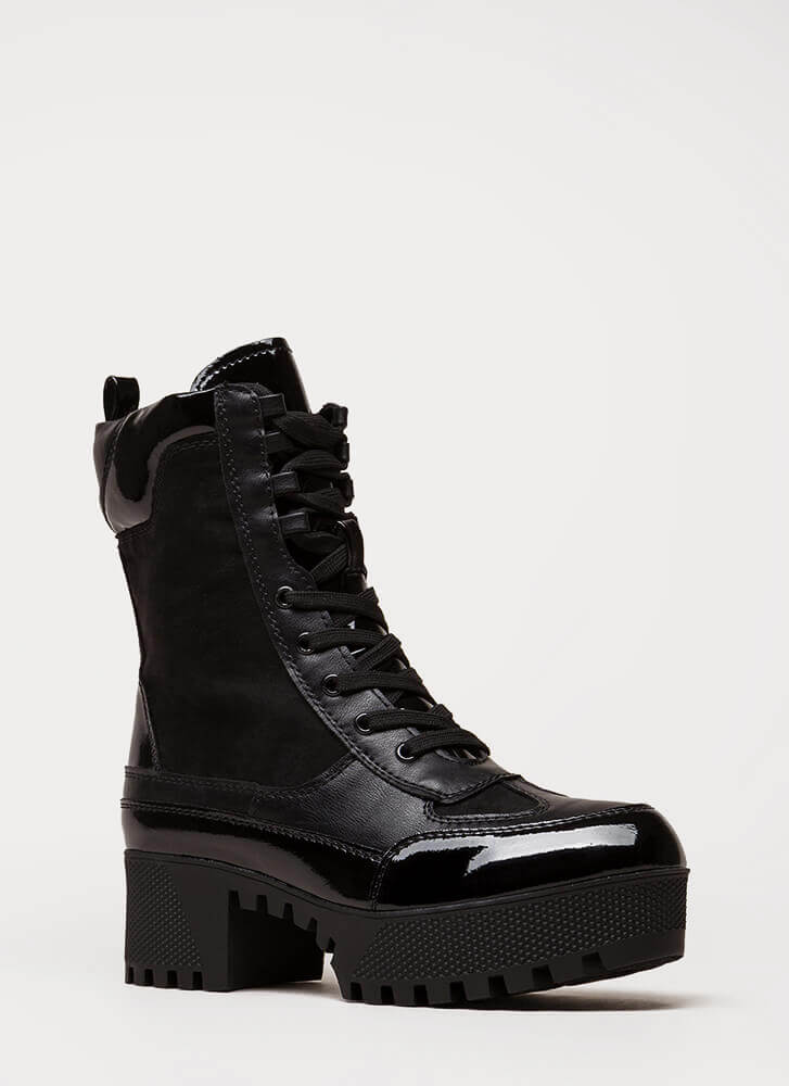 More Power To You Platform Combat Boots BLACK (You Saved $40)