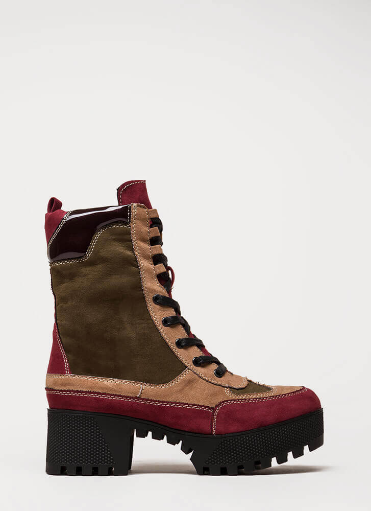 More Power To You Platform Combat Boots BURGUNDY