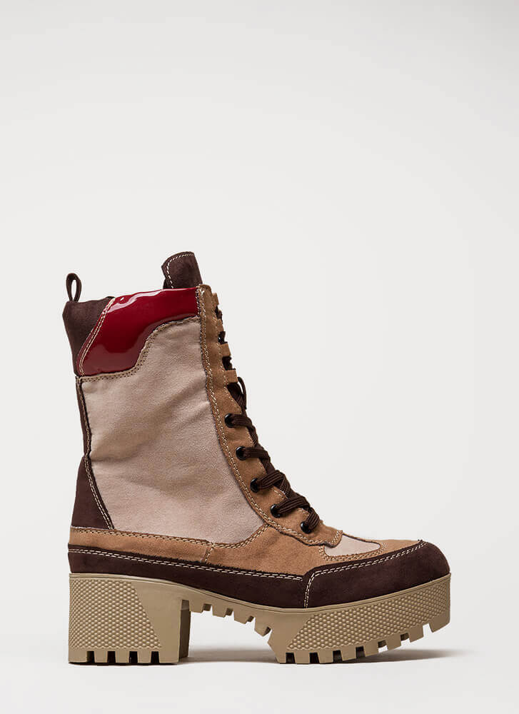 More Power To You Platform Combat Boots CAMEL
