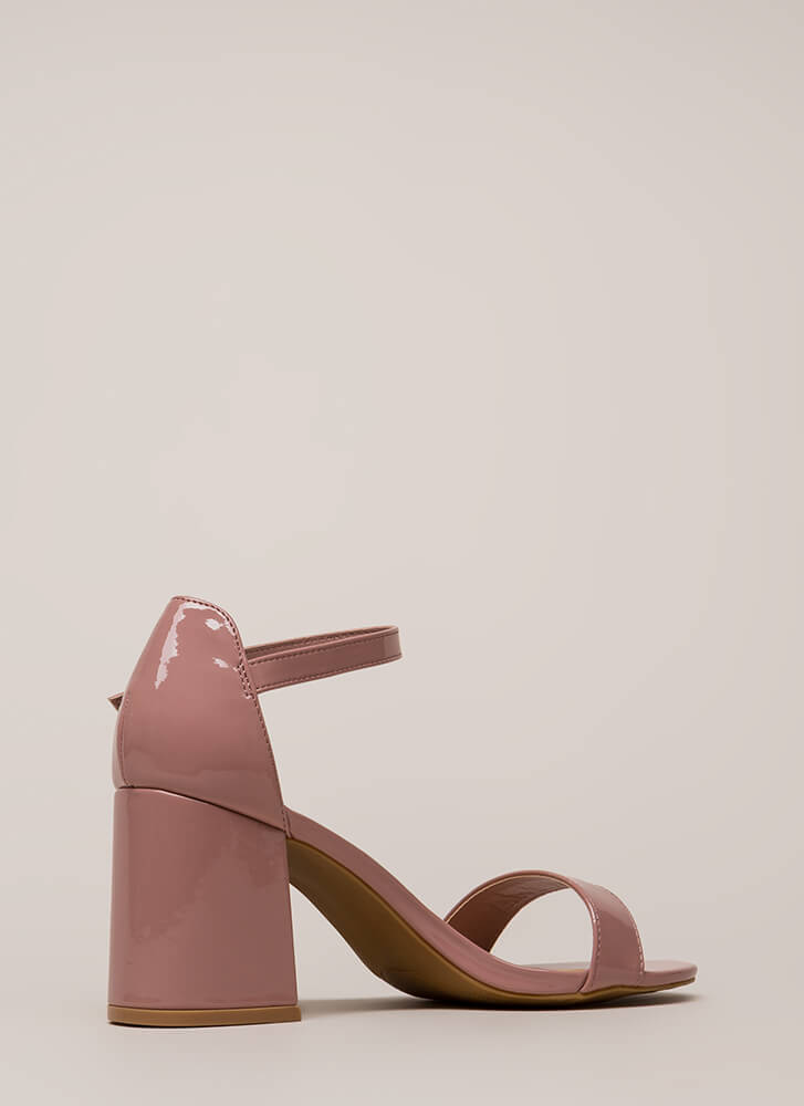 Extra Flare Faux Patent Block Heels MAUVE