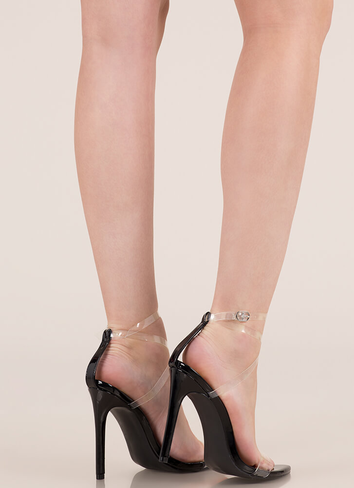 Clear My Head Strappy Faux Patent Heels BLACK