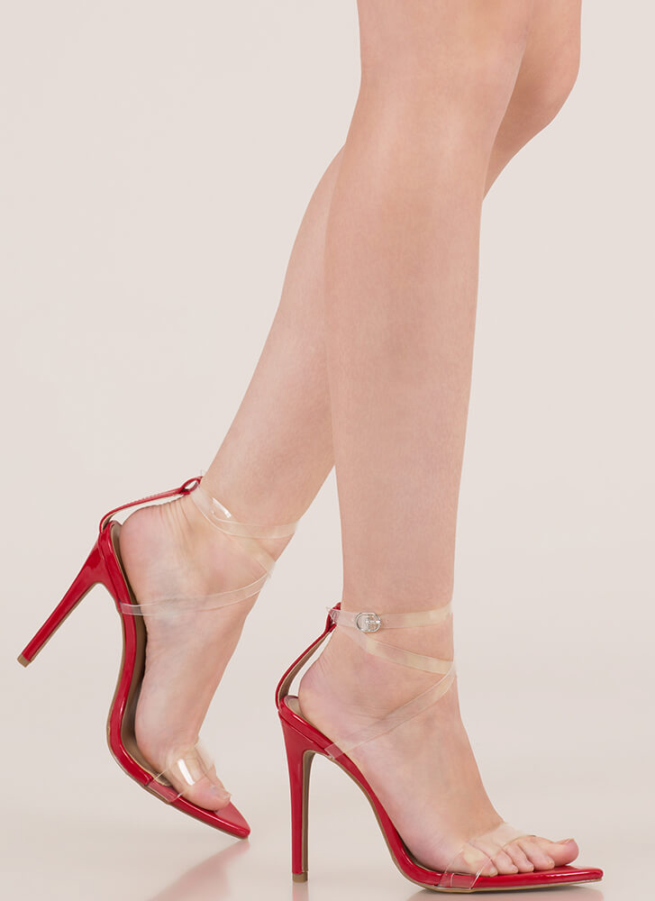 Clear My Head Strappy Faux Patent Heels RED