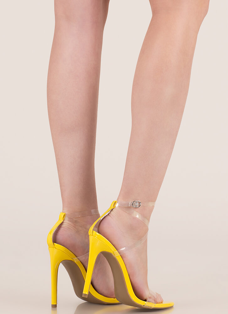 Clear My Head Strappy Faux Patent Heels YELLOW (Final Sale)