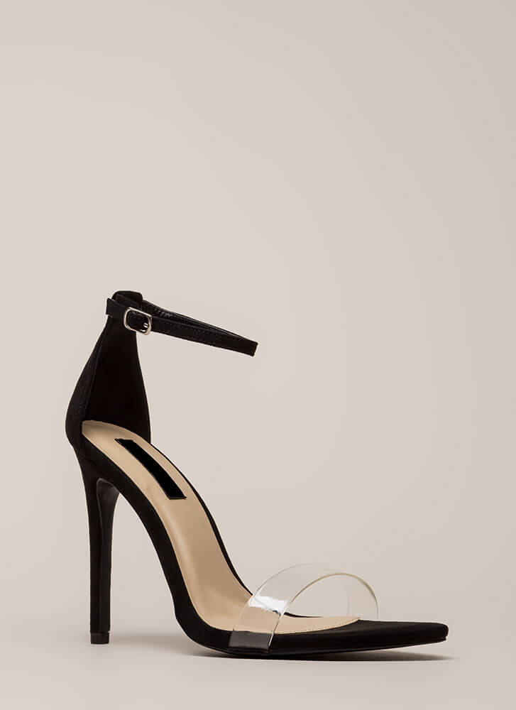 Clearly Flawless Ankle Strap Heels BLACK
