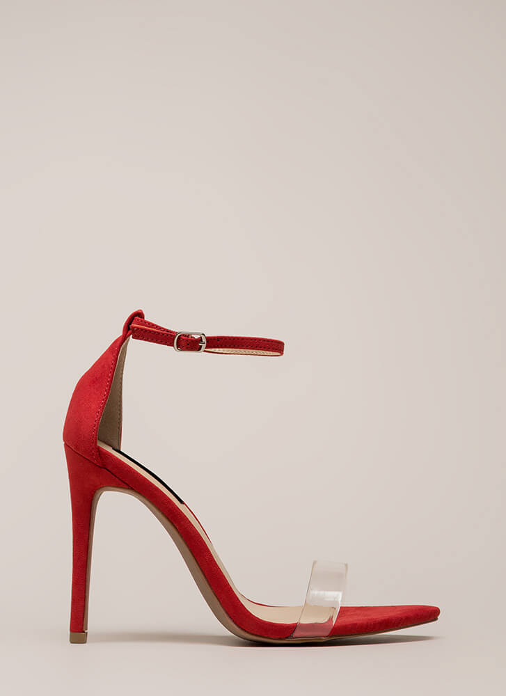 Clearly Flawless Ankle Strap Heels RED