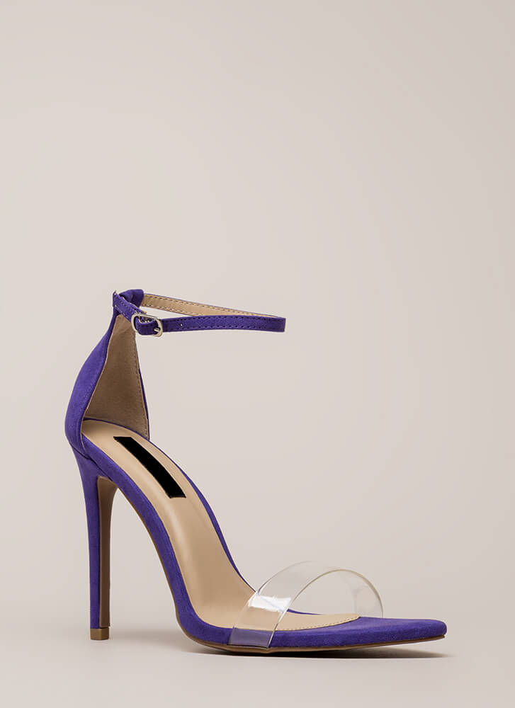 Clearly Flawless Ankle Strap Heels ULTRAVIOLET
