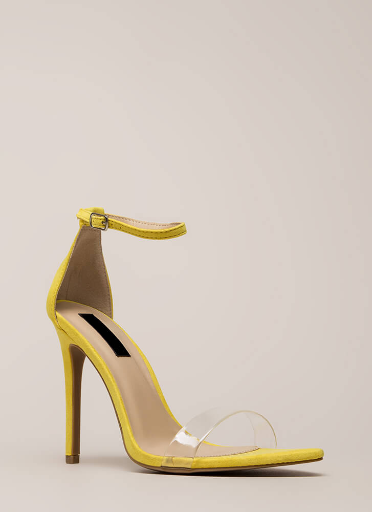 Clearly Flawless Ankle Strap Heels YELLOW