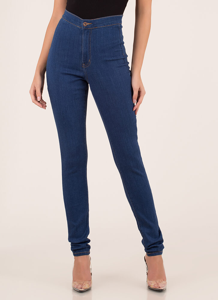 Rise Up High-Waisted Skinny Jeans MEDBLUE
