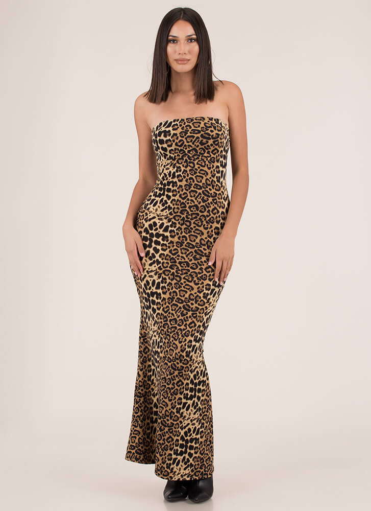 Wild And Crazy Strapless Leopard Maxi LEOPARD