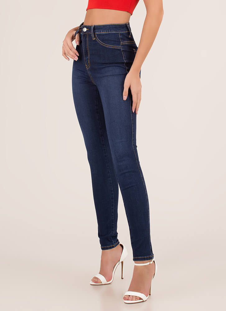 Just Perfect High-Waisted Skinny Jeans DKBLUE