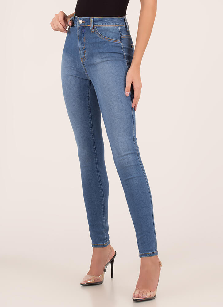 Just Perfect High-Waisted Skinny Jeans MEDBLUE