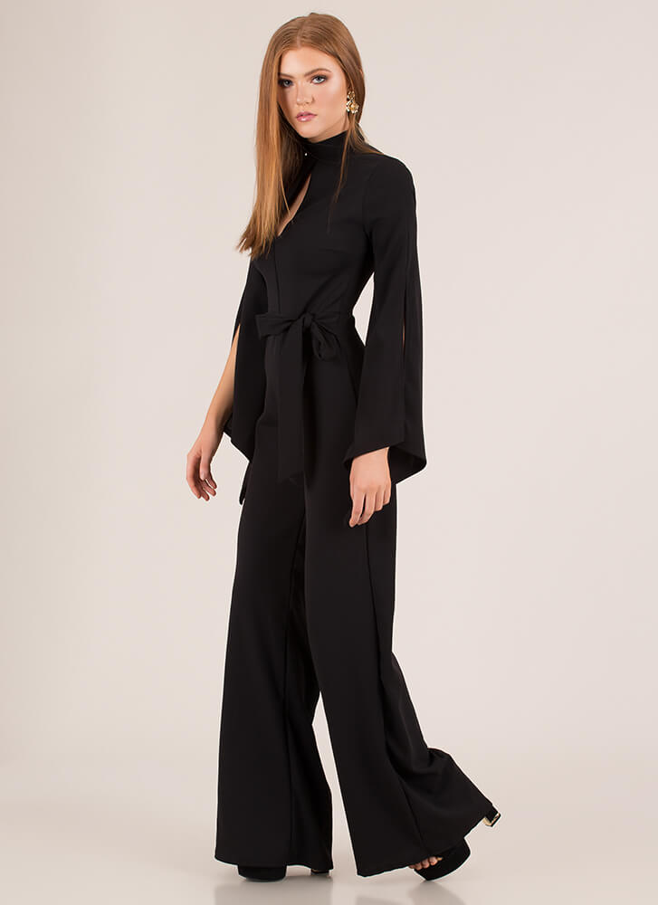One And Only Tied Slit Sleeve Jumpsuit BLACK