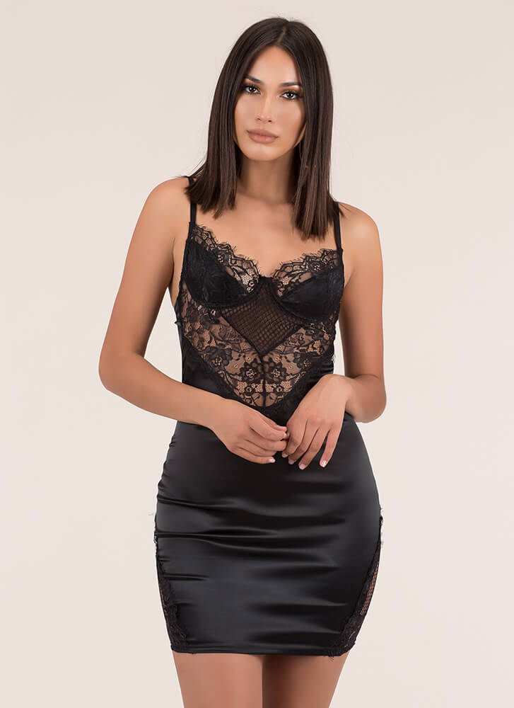 Call It A Nightie Lacy Satin Minidress BLACK