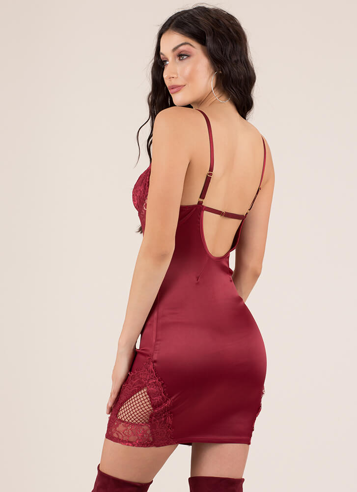 Call It A Nightie Lacy Satin Minidress BURGUNDY
