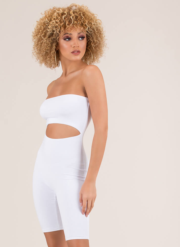 Hot Out Here Strapless Cut-Out Romper WHITE