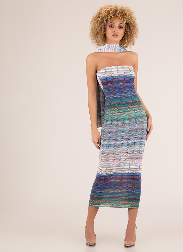 Fine Lines Strapless Dress And Scarf Set MULTI