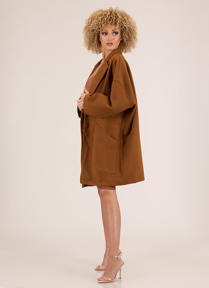 Two Peas In A Pod Oversized Coat CAMEL