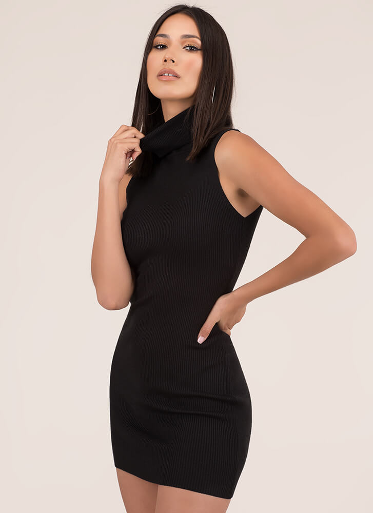 High There Ribbed Turtleneck Minidress BLACK