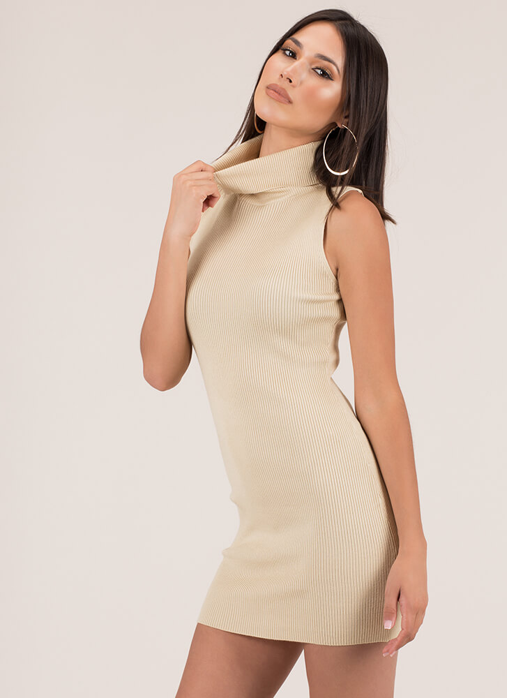 High There Ribbed Turtleneck Minidress NATURAL