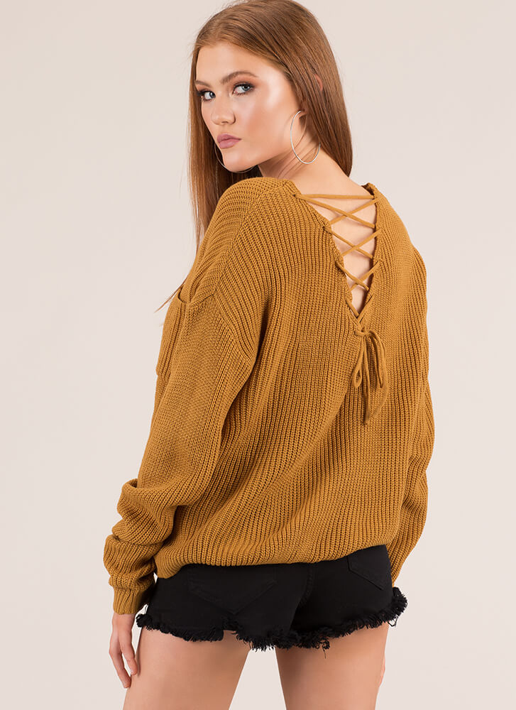 Warm And Cool Lace-Back Knit Sweater MUSTARD