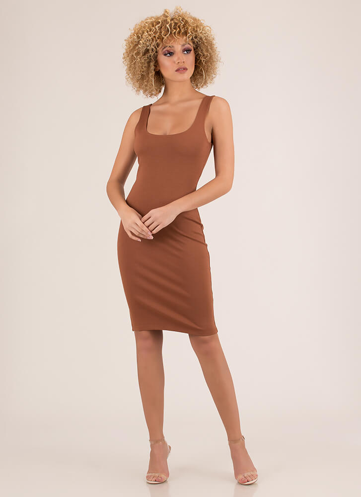 Tank You Very Much Basic Midi Dress BROWN