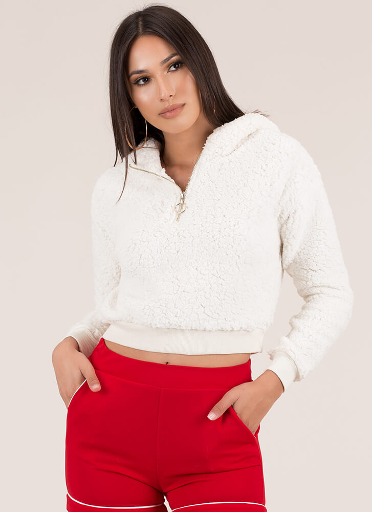 Fantasy Fleece Cropped Zip-Up Hoodie IVORY (You Saved $12)
