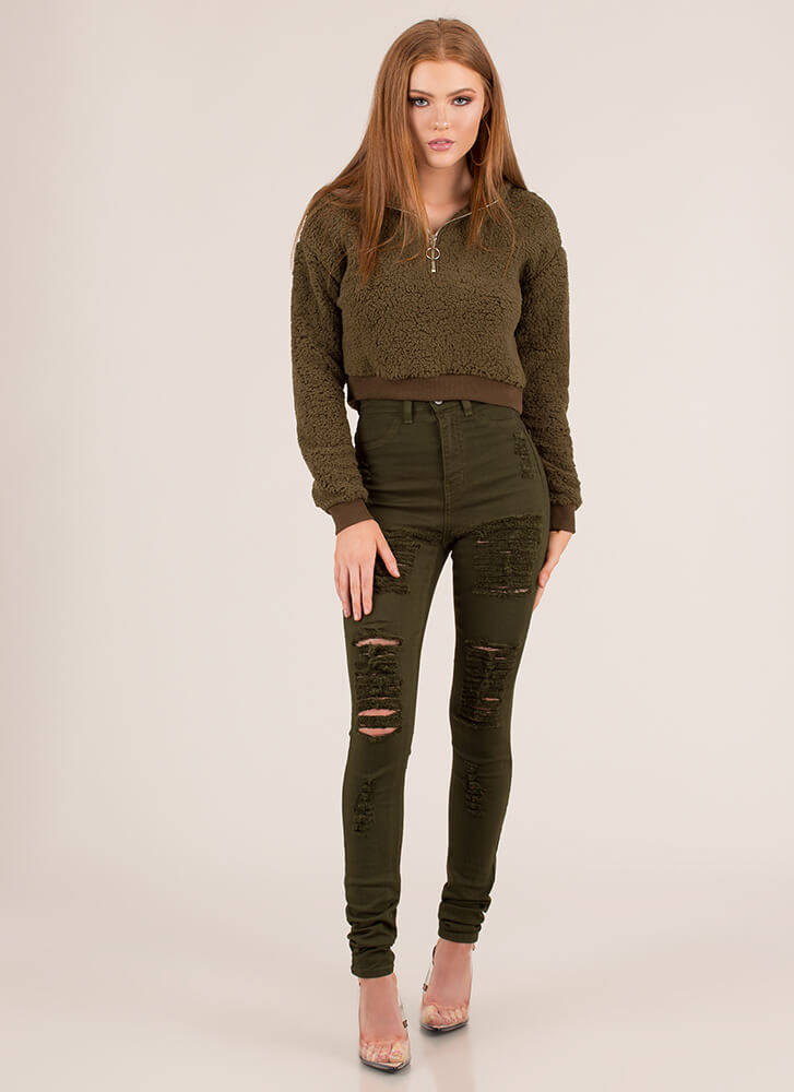 Fantasy Fleece Cropped Zip-Up Hoodie OLIVE (You Saved $12)