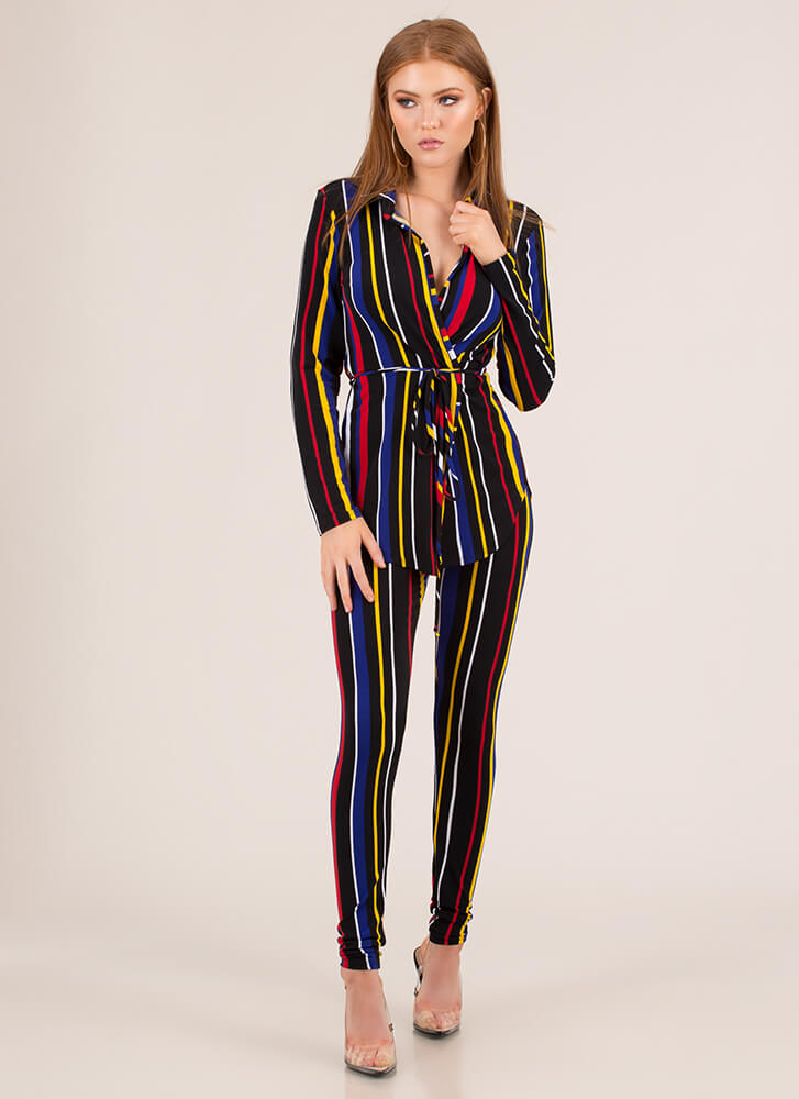 Inside The Lines Striped Two-Piece Set MULTI