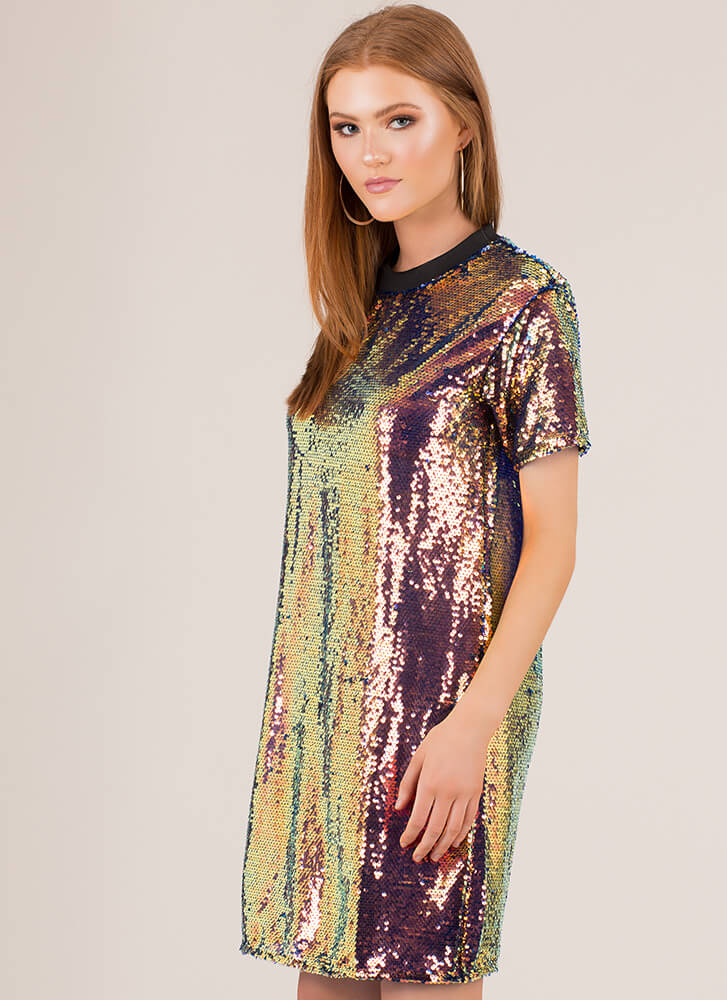 The Party Is On Sequined Shirt Dress MULTI