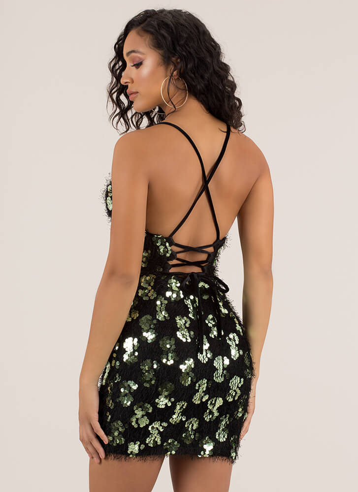 Fuzz-Worthy Sequined Lace-Back Minidress BLACK