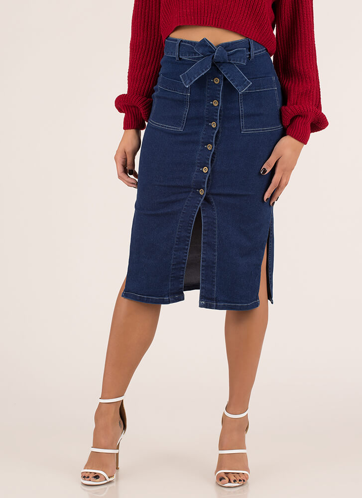 Good Jeans Button-Up Denim Skirt BLUE