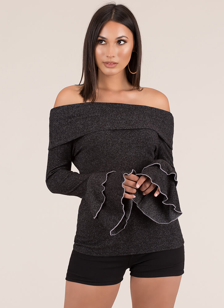 With Bells On Off-Shoulder Knit Top BLACK