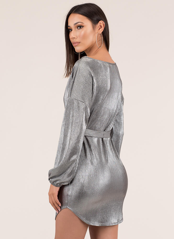Shiny Thing Belted Metallic Shift Dress SILVER