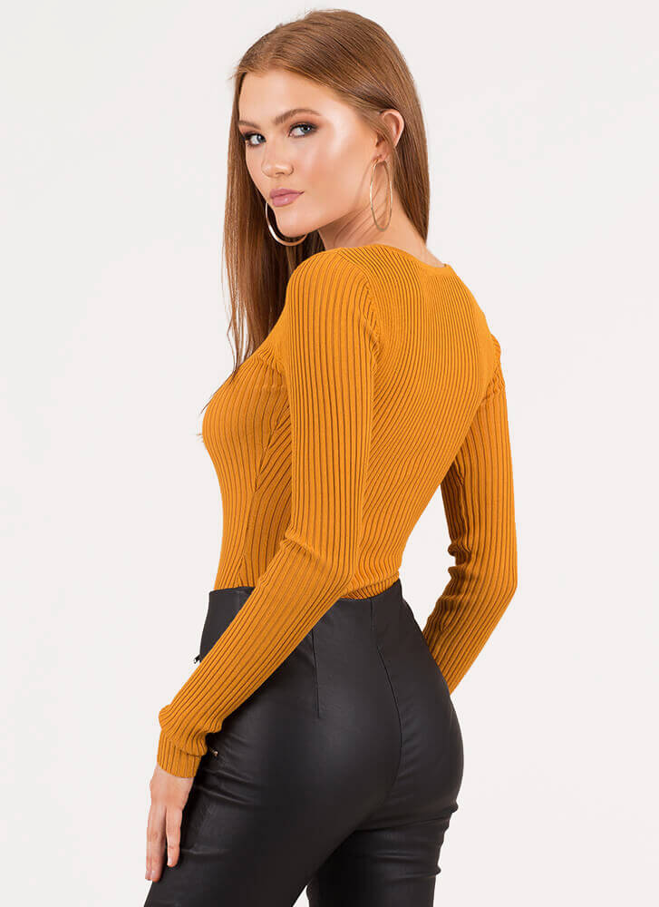 Push All My Buttons Rib Knit Bodysuit MUSTARD