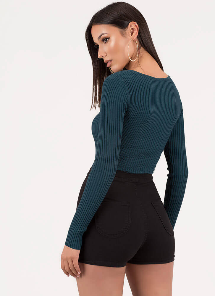 Push All My Buttons Rib Knit Bodysuit TEAL