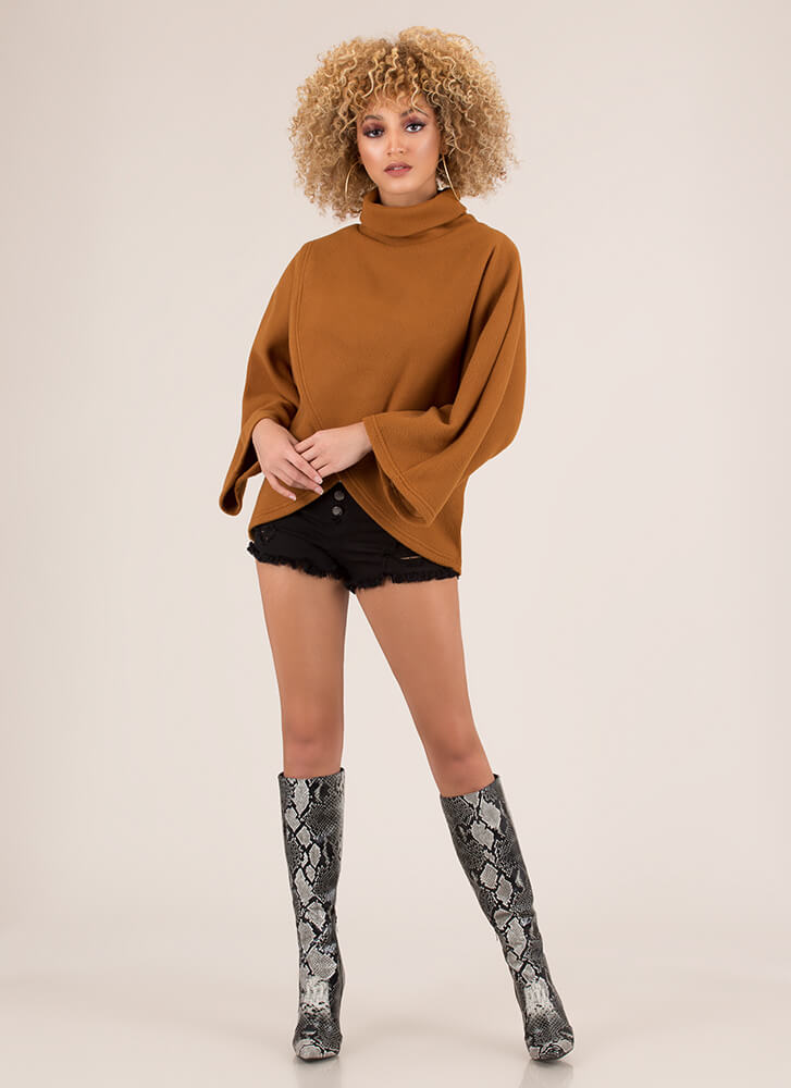 Off The Runway Turtleneck Poncho Sweater BROWN