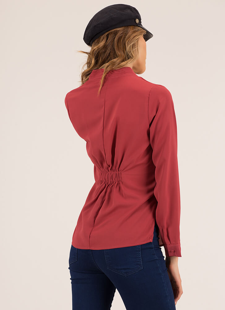 Low-Key Draped Surplice Blouse MARSALA